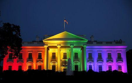 The White House is illuminated in rainbow colors after today's historic Supreme Court ruling legalizing gay marriage in Washington June 26, 2015. REUTERS/Gary Cameron